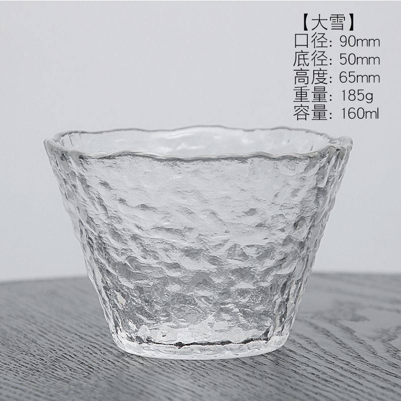 creative Japanese hammer pattern big snow home Crystal glass small water tea cup