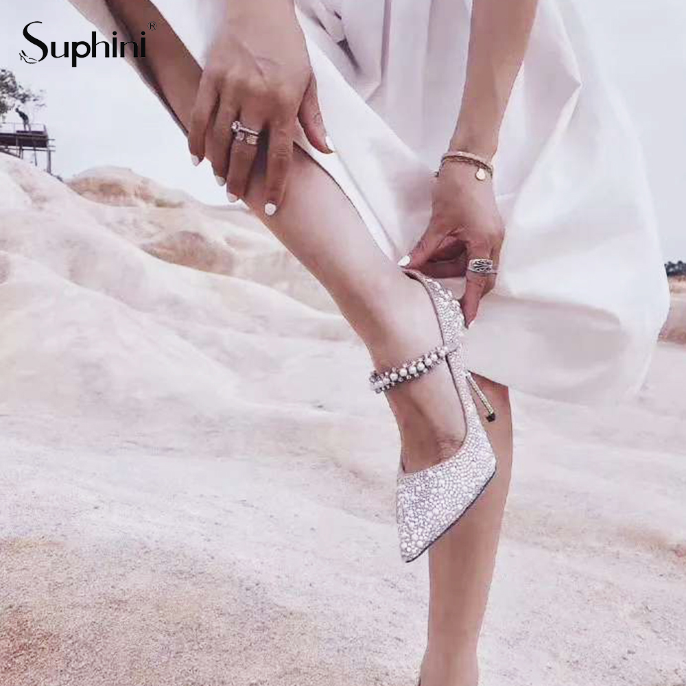 Suphini Sparkle glitter sequin closed toe high heel pumps wedding bridal sandals shoes