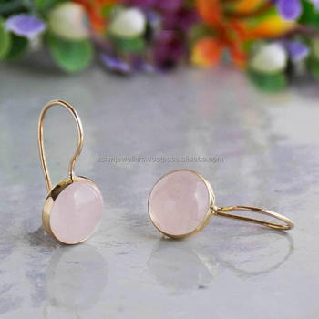 Rose Quartz Gemstone Earrings made in 925 Sterling Silver Beautiful handmade Gold Plated Jewelry