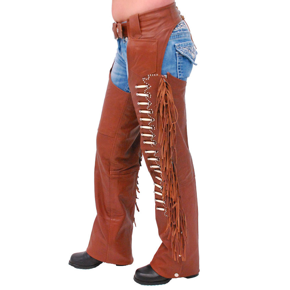 Ladies Low Rise Black Leather Chaps Motorcycle Riding Chaps Size 5XL