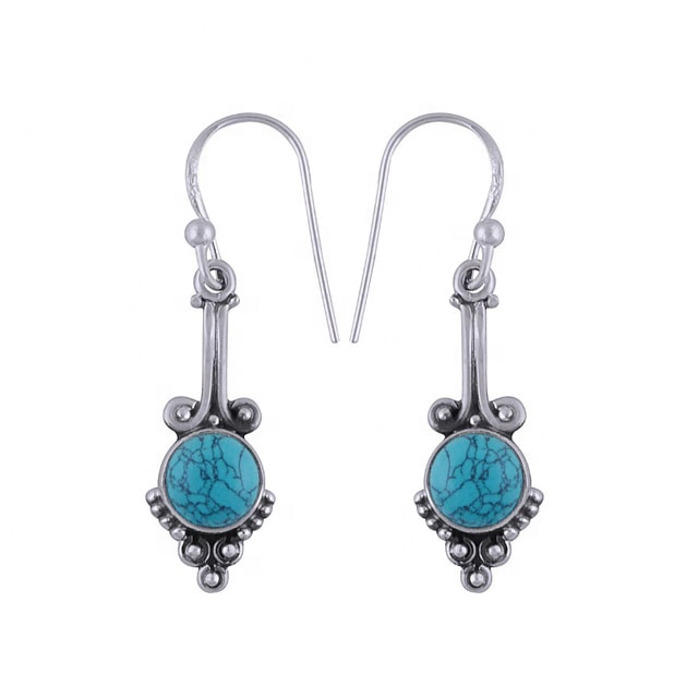 Solid 925 Sterling Silver Natural Turquoise Gemstone Drop Earrings Jewelry