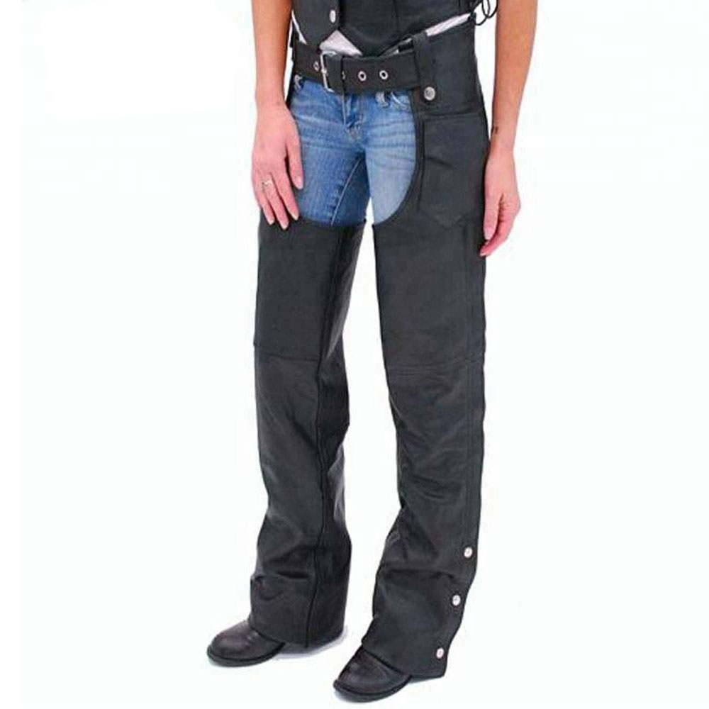 New Design Women Western Style Custom Color Leather Motorcycle Chaps Ladies Western Fringed Design Horse Riding