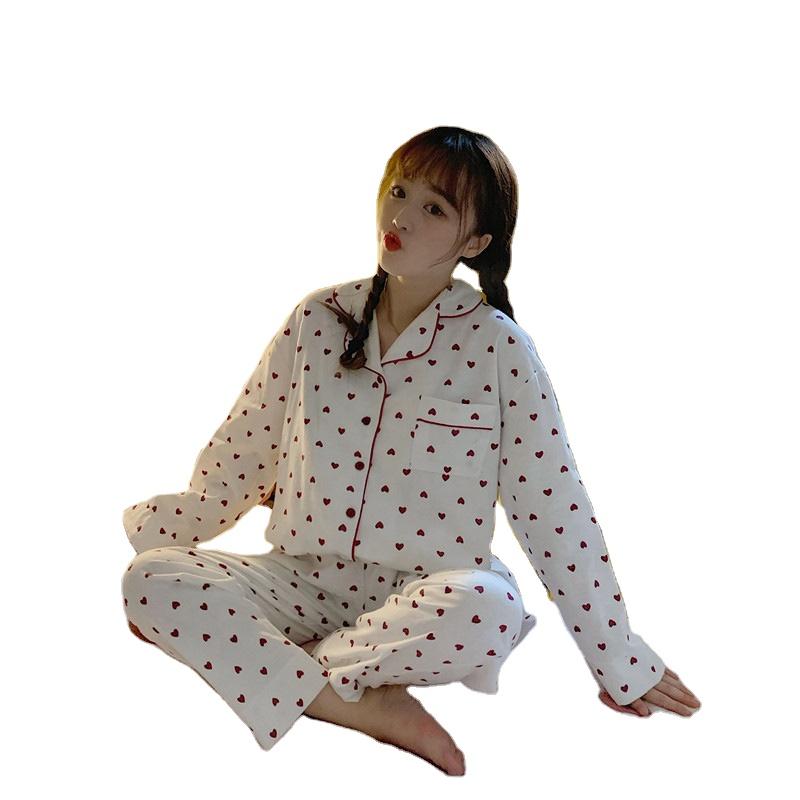 Women Fashion Cotton Love Heart Long Sleeve Sleepwear Pajama
