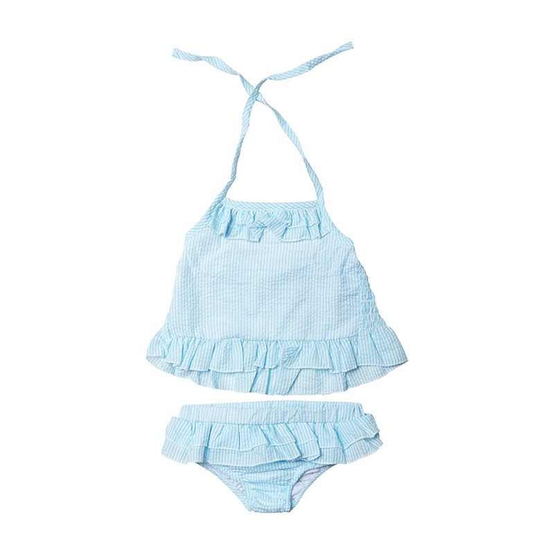 Stripe Bikini Girls Monogrammed Swimsuit -2 pc Girls Monogrammed Bathing Suit-- Ruffled Baby Swimsuit