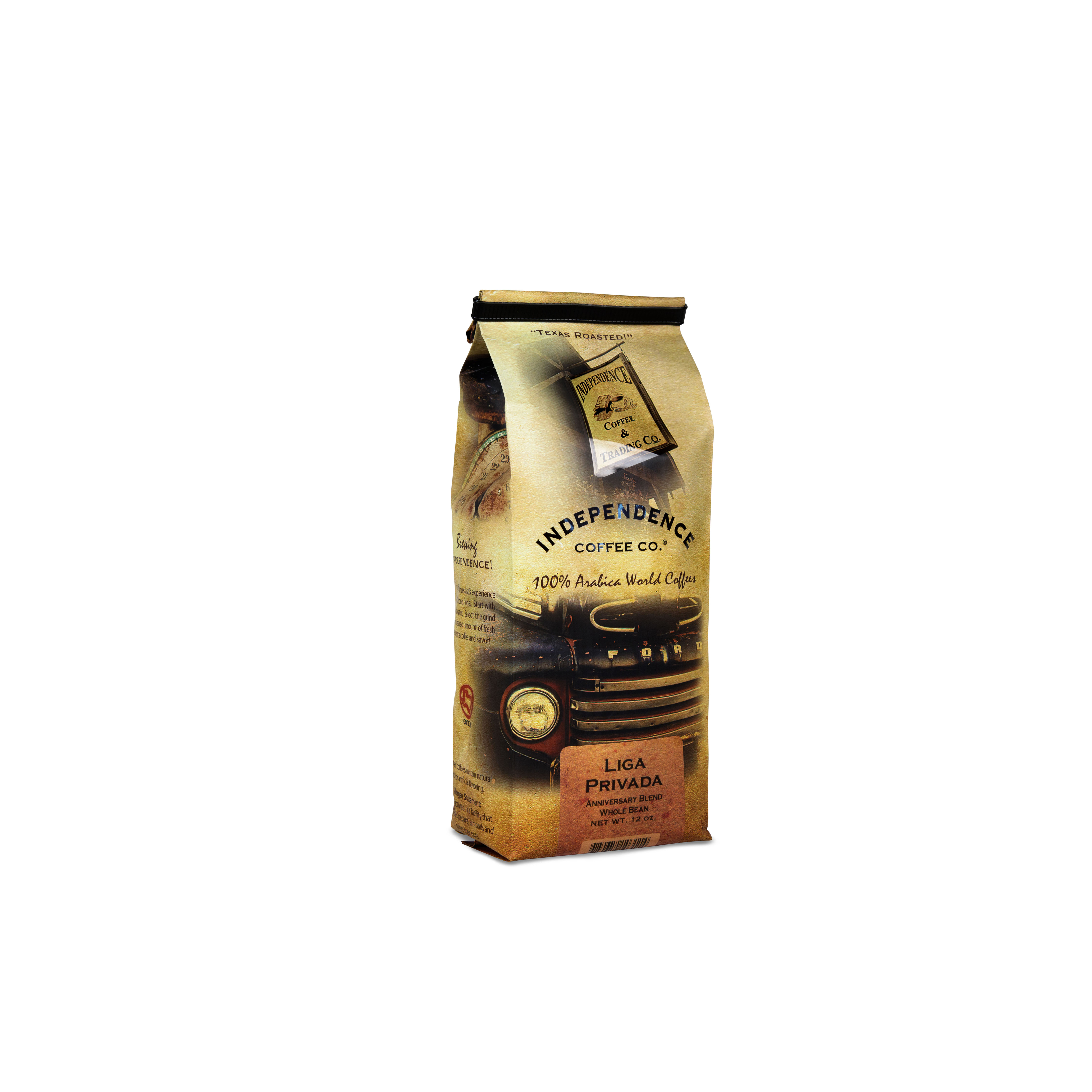 Independence Coffee Co. Liga Privada Mellow Non Flavored Arabica Medium Roast Whole Bean 12 oz.