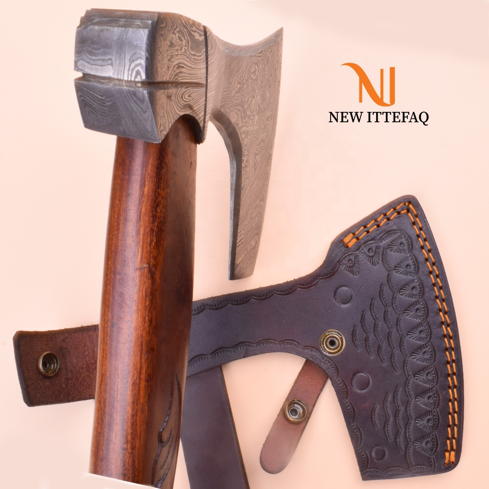 BEAUTIFUL Custom Handmade Damascus Steel Tomahawk Viking Axe Roose Wood Handle