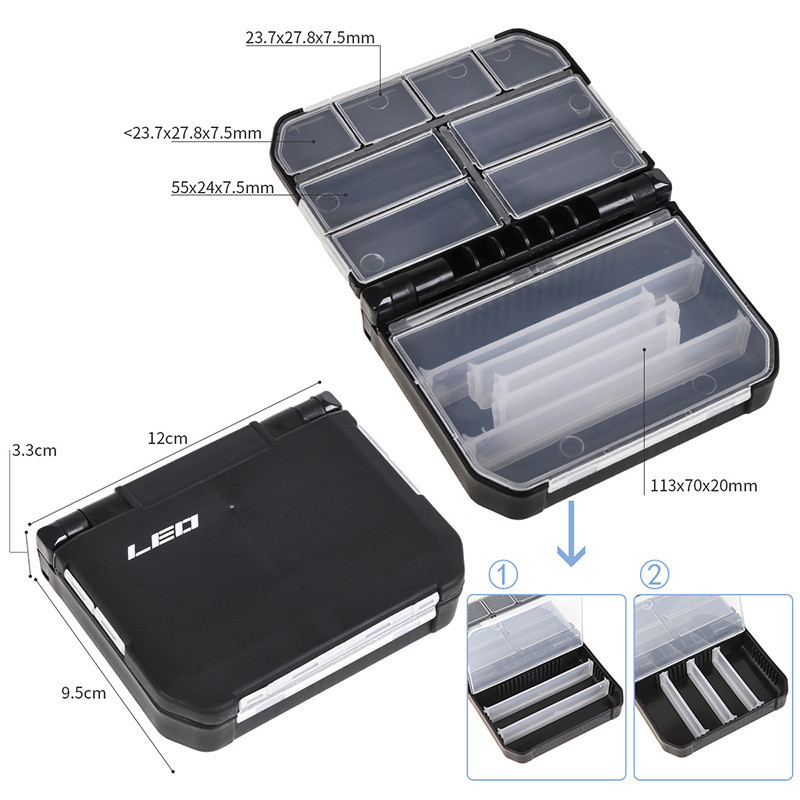 Robben New Plastic Black Fishing Tackle Box Fishing Accessories Box Semi-automatic Opening Closing Accessory Case for fishing