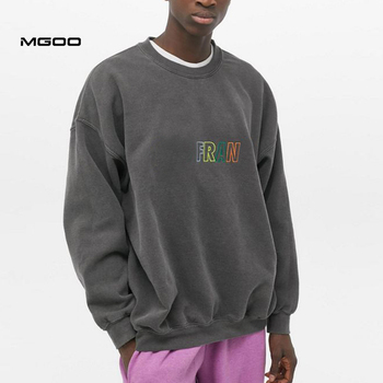 MGOO Oversized Drop Shoulder Men Pullover Washed Black Crew Neck Rainbow Embroidered Sweatshirts