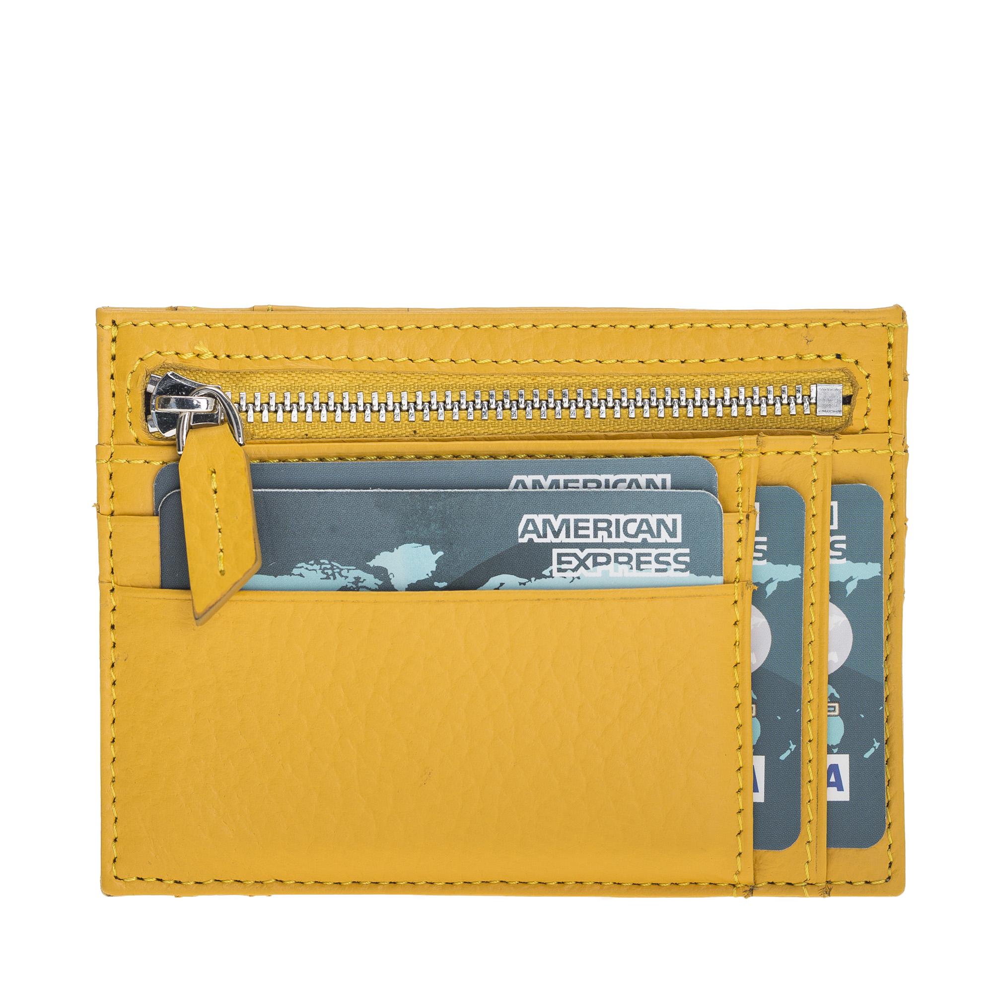Yellow Full Grain Leather  Zip Card Holder
