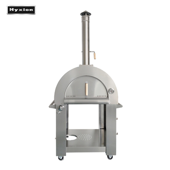 Hyxion gas and wood fired stainless steel pizza oven for outdoor