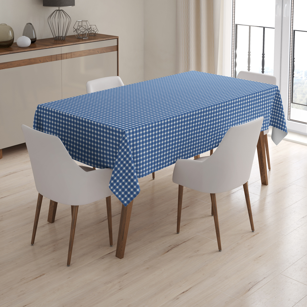 High Quality PVC Table Cloth with Nonwoven Backing 266-7 Checkered Design Dark Blue