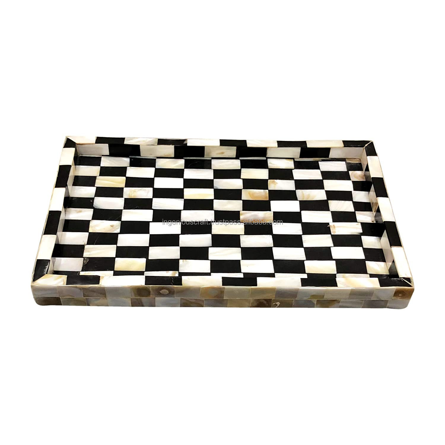 Indian Top Selling Handmade Mother Of Pearl Inlay Black And White Checkered Serving Tray Kitchenware By Ingenious Craft Buy Products Product On Alibaba Com