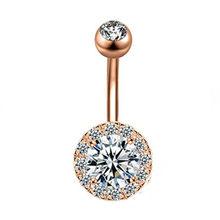 Кольцо для пирсинга живота, шт., кристальная бабочка, 14 г, хирургическая сталь, подсолнечное кольцо, болтается, розовое золото, пупок(Китай)