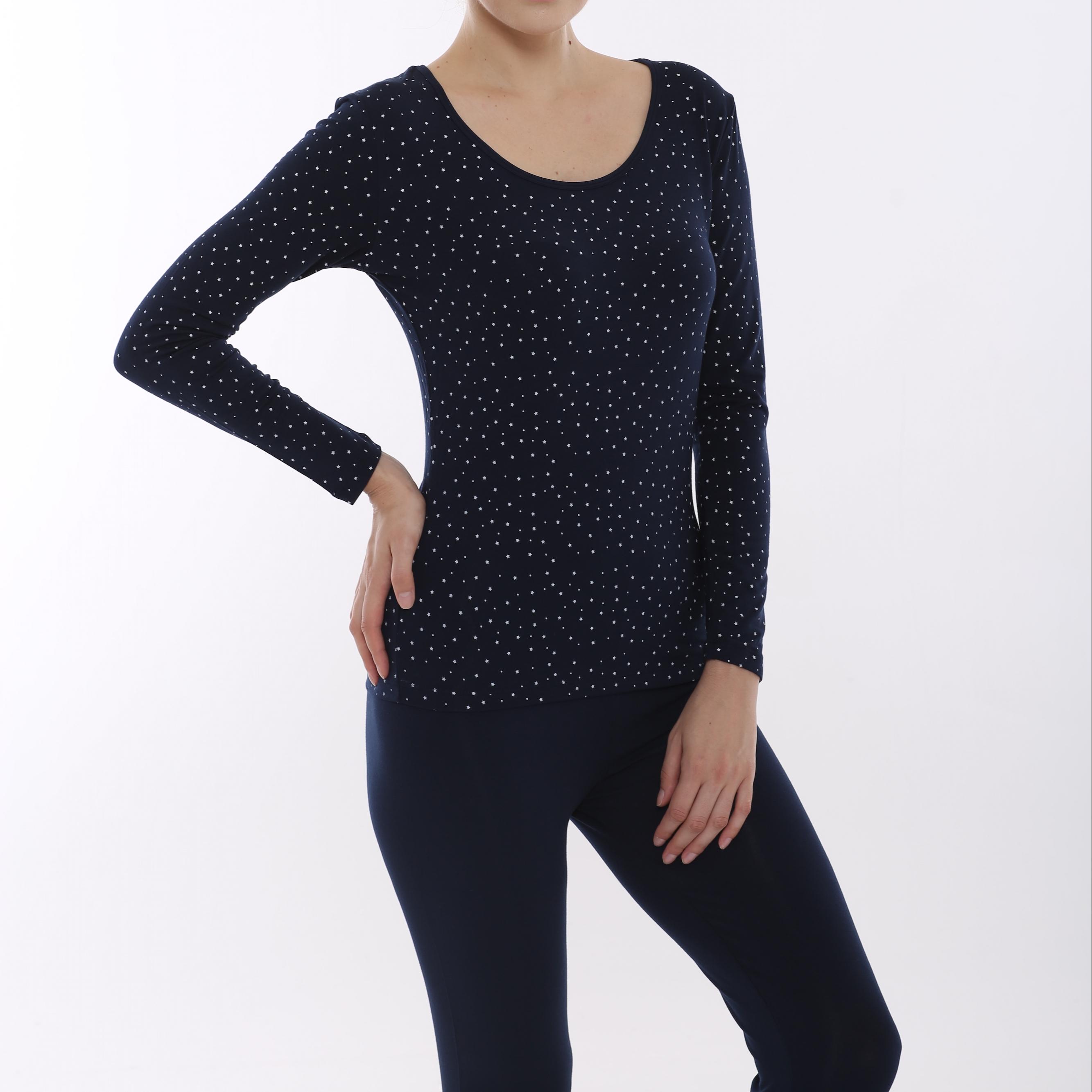 Modal Thermal Printing Dots Long Sleeve Shirts Underwear Set Lingerie Set Women Navy