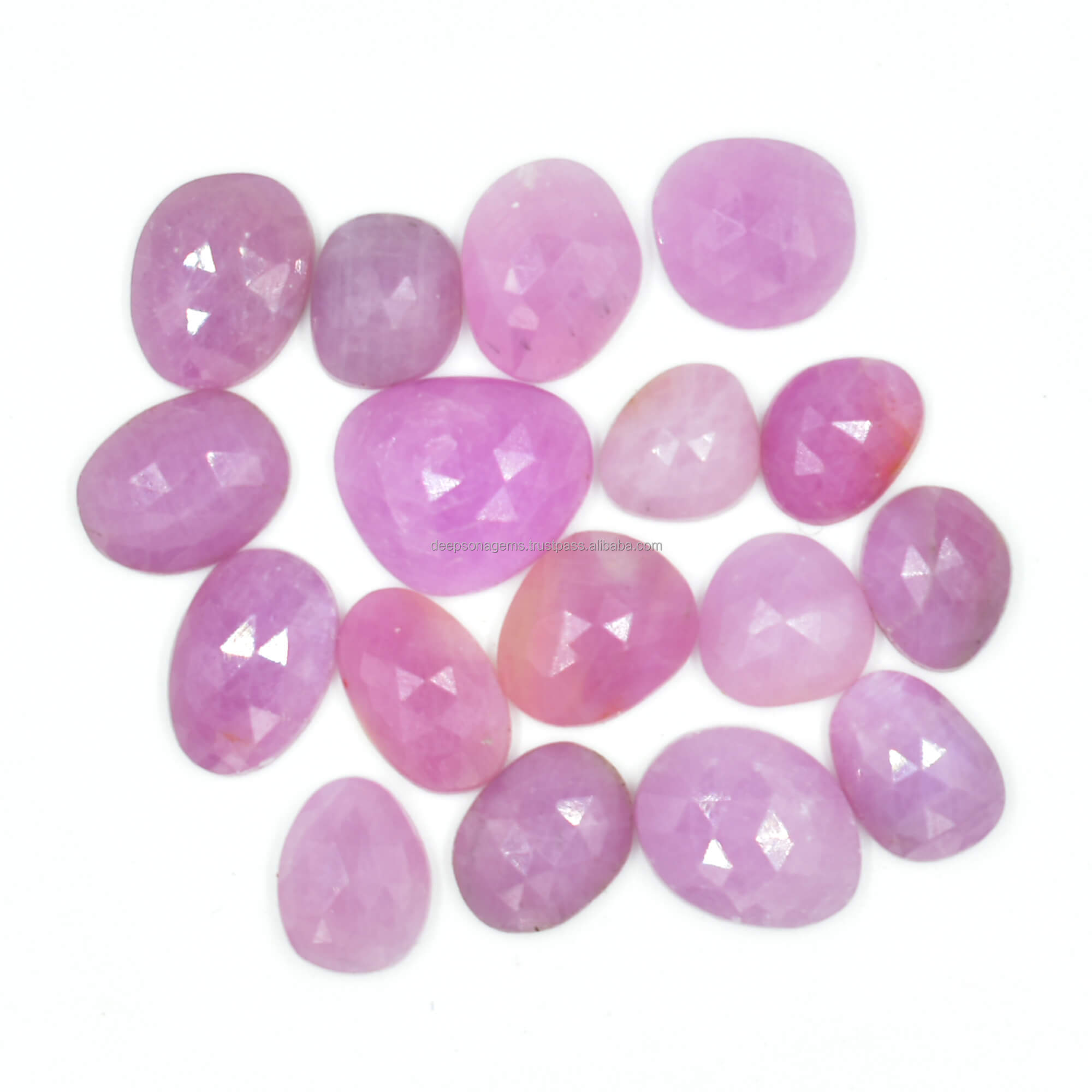 8x6 MM, Pink Sapphire Slices Pink Sapphire Faceted Slices Pink Sapphire Pear Slices Natural Pink Sapphire Rose Cut Slices