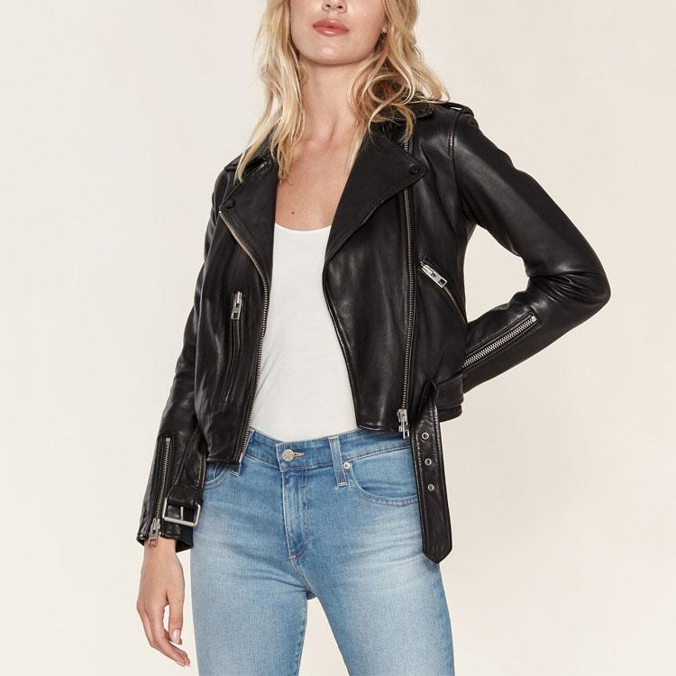 Оптовая продажа, женская черная мотоциклетная куртка из искусственной кожи на молнии
