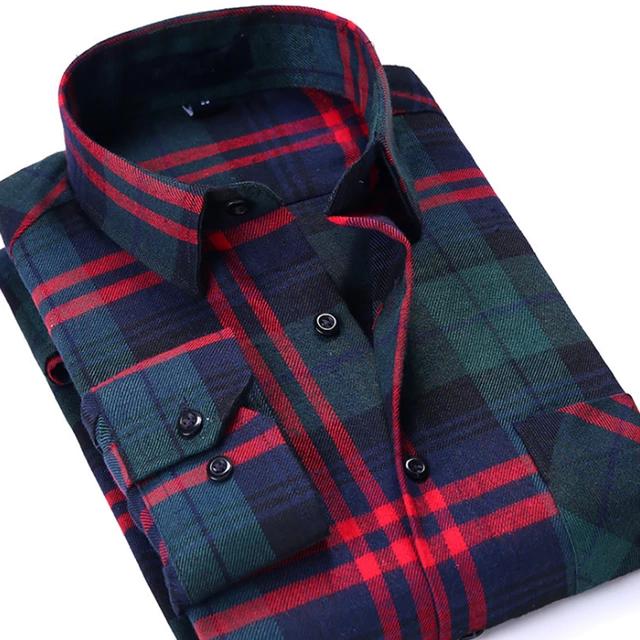 Wholesale long Sleeves red grid graded flannel designer checker custom shirt 2021-22