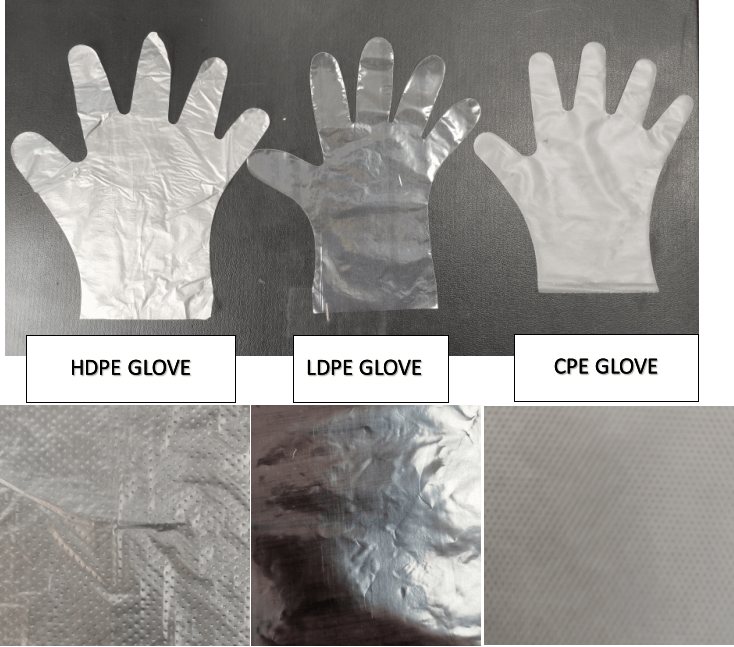 The different on the film's surface between HDPE, LDPE and CPE Gloves