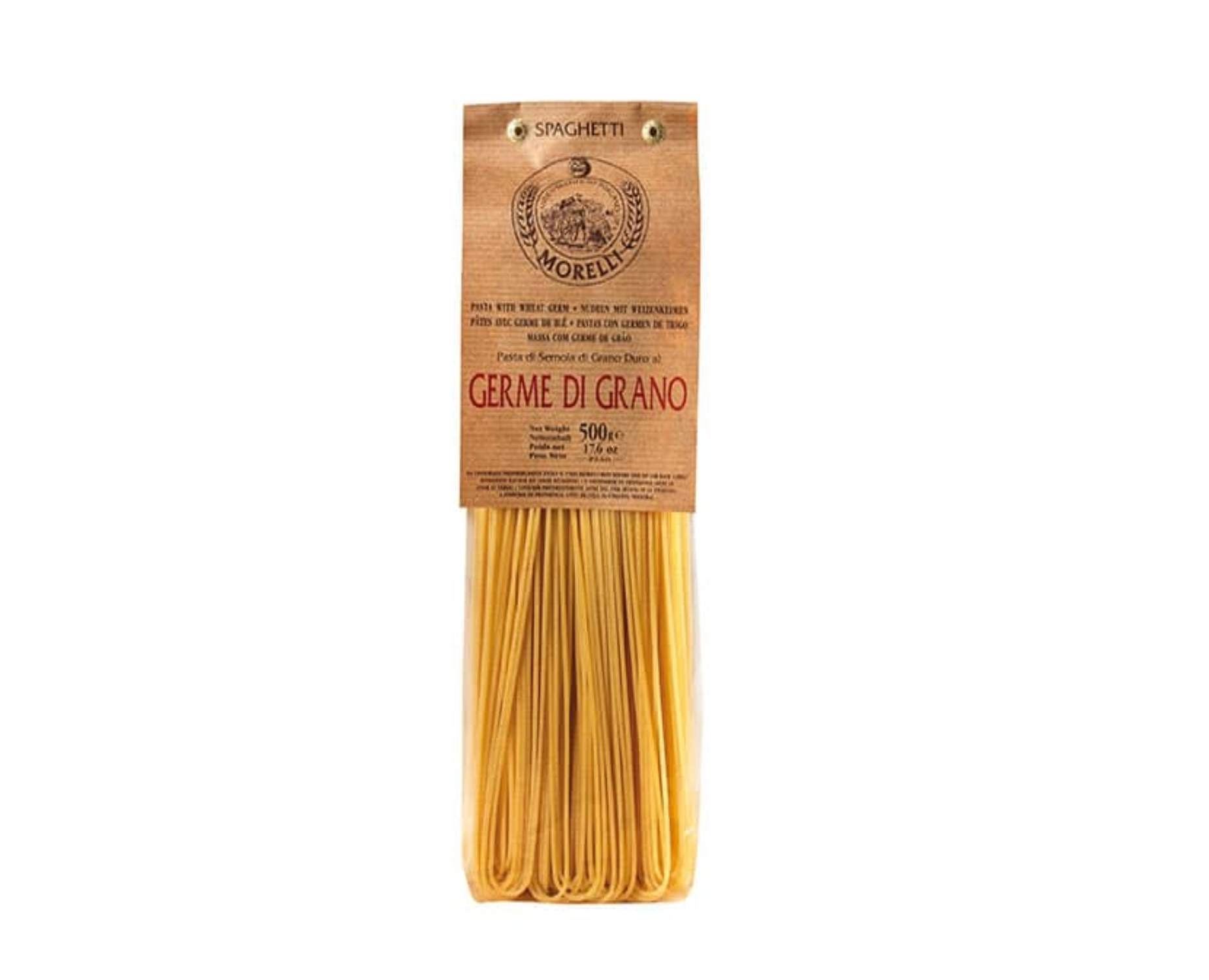Spaghetti with Wheat Germ Italian Pasta Artisanal Made in Italy Long Shape