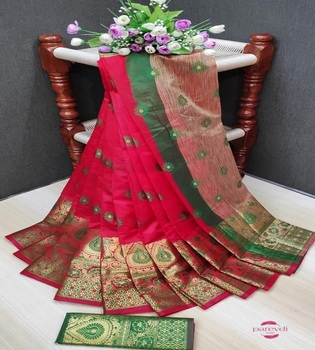 Factory Direct Supply Jacquard with Meena Work Banarasi Silk Saree / sari party wear wedding indian
