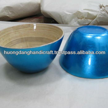 Leading shiny blue bamboo bowl merely handmade manufactured