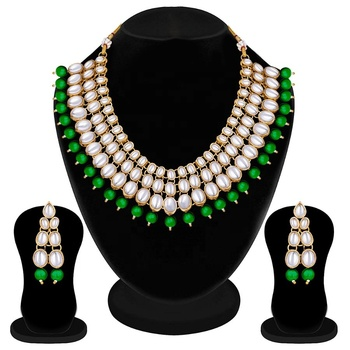 Wedding collection kundan necklace set indian fashion jewellery