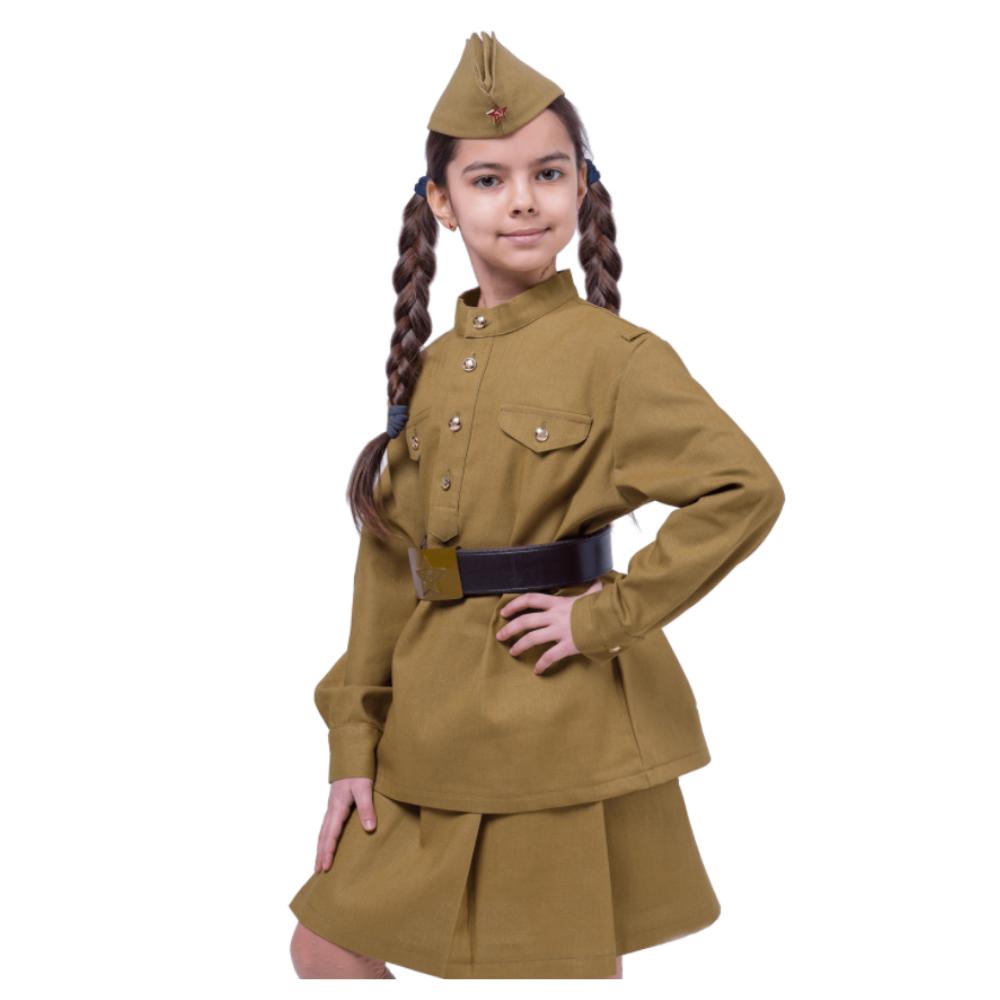 Военная униформа для девочки с шапкой форбридж 134 см