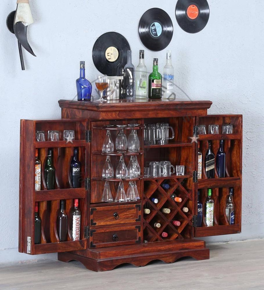 Деревянный барный шкаф с отделкой из меда дуба