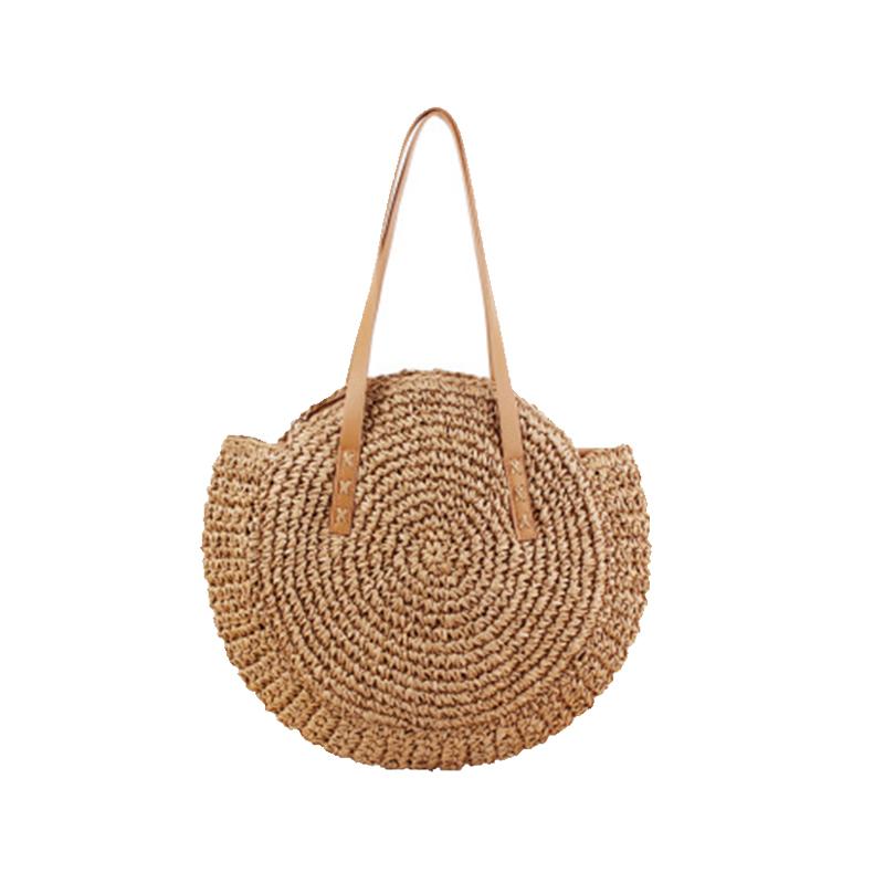 Новая круглая сумка из ротанга, пляжная сумка-тоут через плечо, модная и свежая женская соломенная сумка оптом