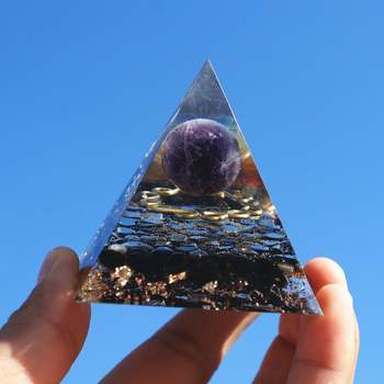 Amethyst Sphere And Obsidian Crystal With Copper Chakra Reiki Meditation Orgone Pyramid