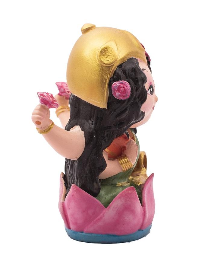 Wowheads-  Maa Laxmi Mini Resin Figurines Handicrafts Bobbleheads Religious Hindu God - 3.5 inches