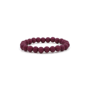Red Wine Silicon Rubber Beaded Stretch Bracelet 9MM - 5 Lengths to Choose From
