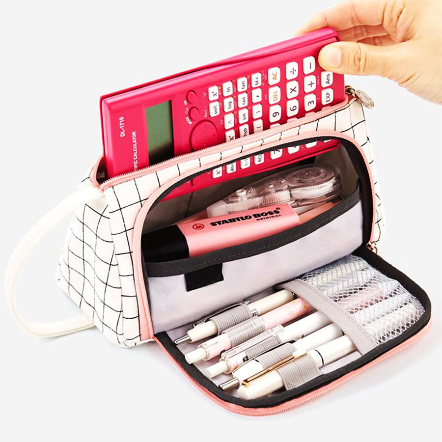 Canvas fashion pen orgazizer pouch handheld student stationary pal holder box Large capacity pencil case