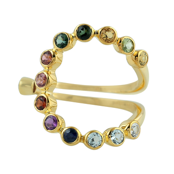 Beautiful Design 18 Kt Yellow Gold Multi Gemstone Jewelry Ring For Women Party Engagement Anniversary Gift