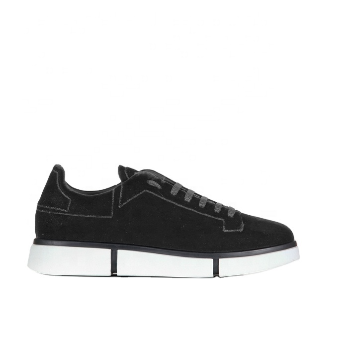 Made in Italy soft black velvet lace up sneakers with minimalist silhouette for Men Jordi for RTW and Footwear multibrand stores