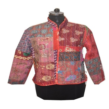 Indian Silk Patchwork Women Jacket Vintage Silk Sari Handmade patch Reversible Multi patch ladies long cost -Jackets