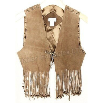 Fringed Tassel Faux Suede Vest Faux Leather Casual Sleeveless Vest