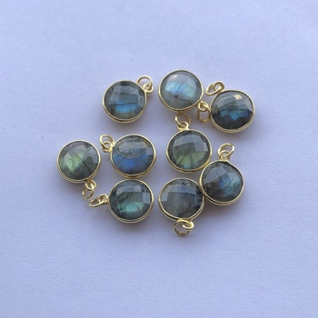 Natural Labradorite Stone Bezel 925 Sterling Silver Round Gemstone Pendant - Wholesale Jewelry Manufacturer at Factory Price