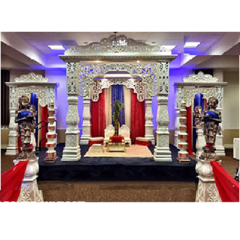 Indian Wedding White Bollywood Mandap Dream Wedding Event Fiber Mandap Decor Grand Rajisthani Wedding Fiber Mandap