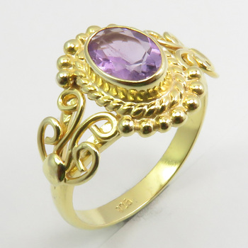 Gold Flashed Solid Sterling Silver Amethyst Ring # 5.25 Face Width 12 mm New Art