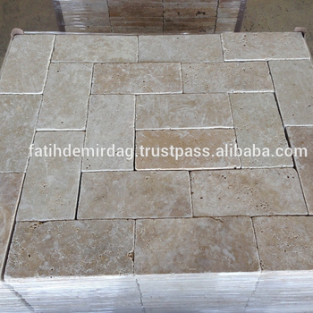 "Classic Light Travertine , 6x12"" (15,3x30,5x3 cm) Paver - Tumbled / dry photo"