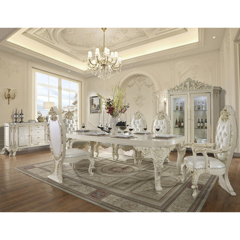 European Royal Palace Dining Room Furniture Wooden Carved Dining Table Set With 8 Chairs