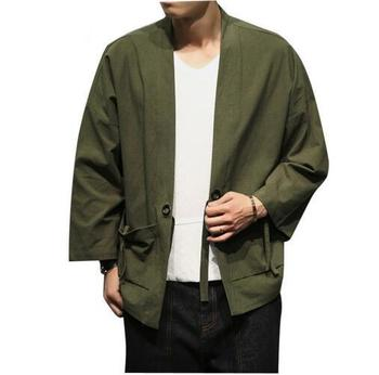 Army green cardigan Men Cotton Cardigan Jacket Male Streetwear Fashion Casual Coat Loose Kimono Jacket