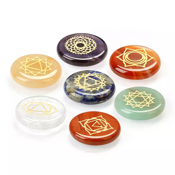 HIGH QUALITY 7 CHAKRA POCKET STONE ,CRYSTALS HEALING STONE ,ENGRAVED STONE CRAFTS FOR JEWELRY MAKING