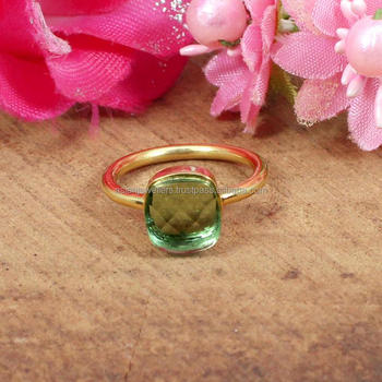 925 sterling silver green amethyst gemstone gold vermeil ring