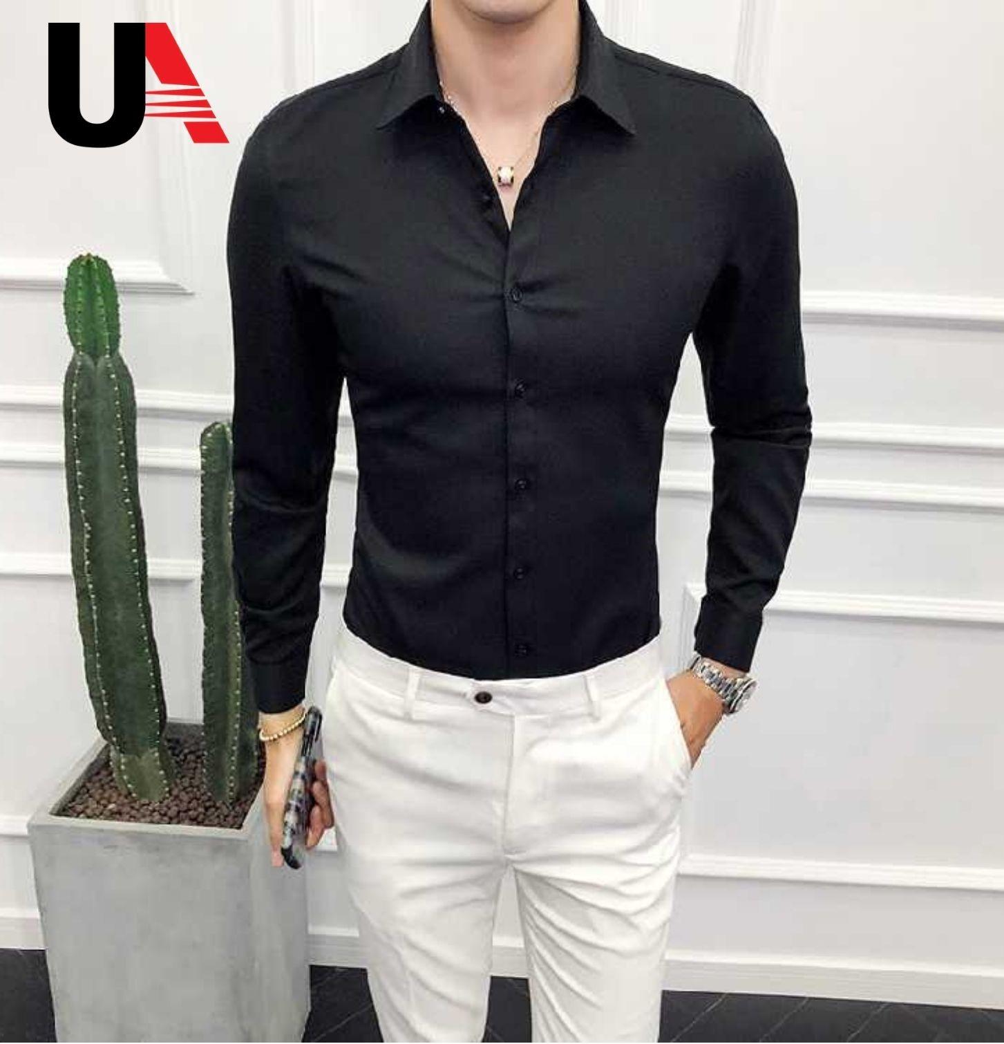 Men's Long Sleeve Black Office Dress Shirt 100% Cotton - Buy Cotton/cashmere Shirt,Men Office Long Sleeve Shirt,Cheap Long Sleeve Dress Shirts Product ...