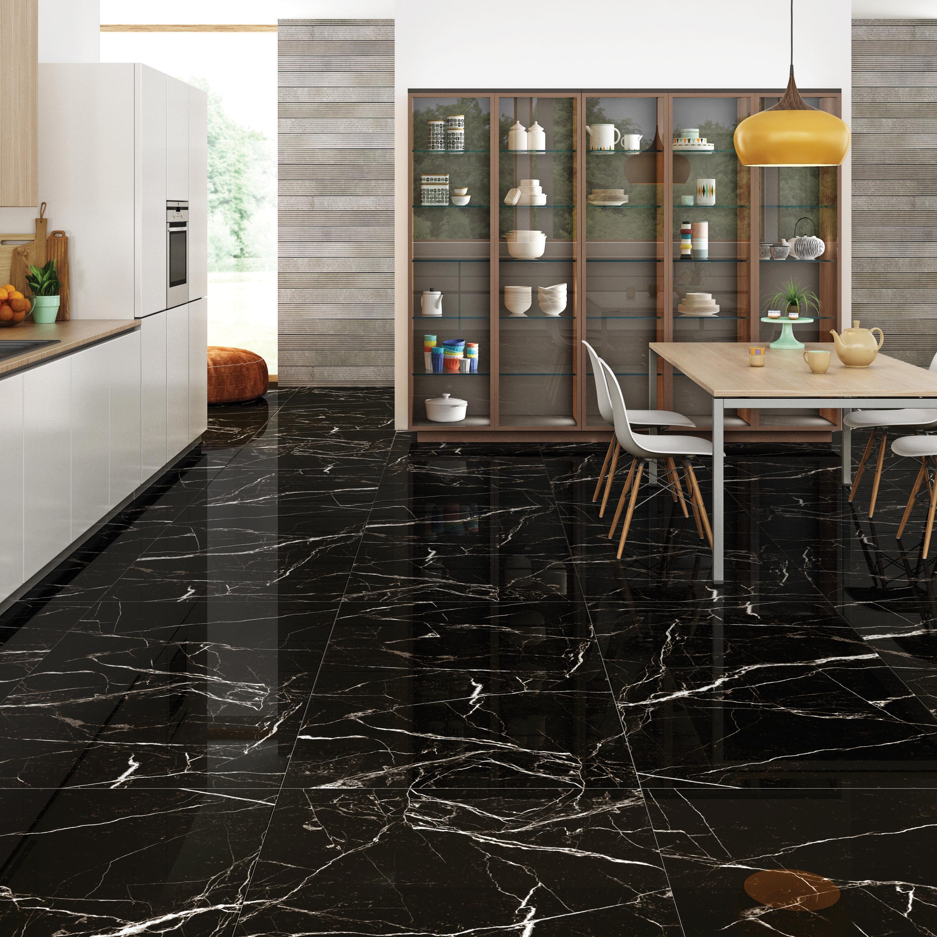 Black Porcelain Marble Coffee High Glossy Tiles   Buy Black Glazed ...