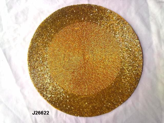 Round Glass bead place mats with grass pattern other colours also available