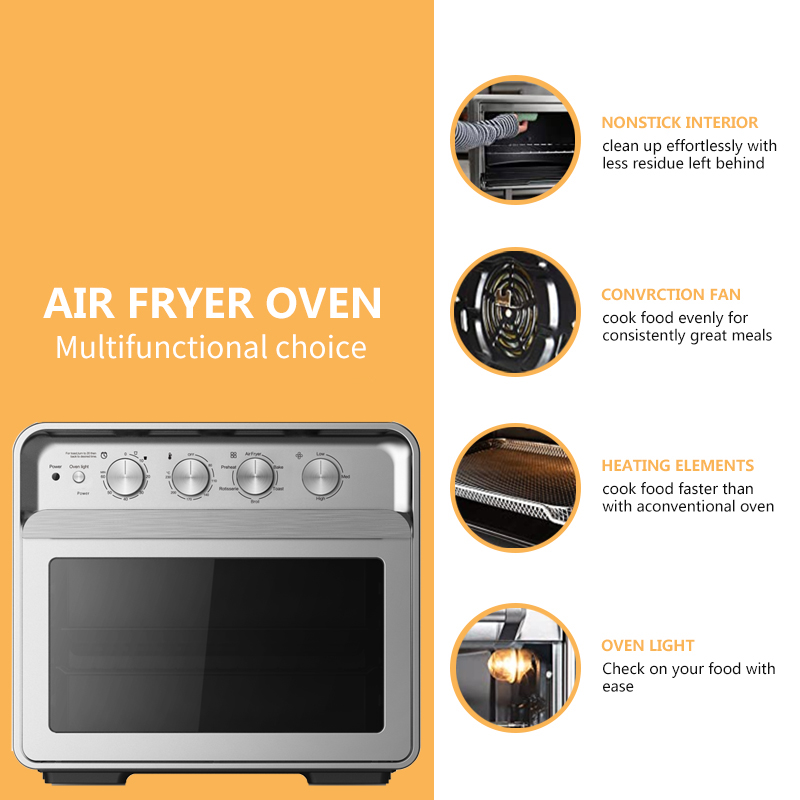 30L Stainless Steel Air Fryer Oven Convectiontoaster Oven Large Capacity Oven For Bake Broil Pizza Roast Toast Dehydrate
