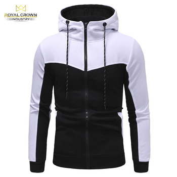 New Design Men Branded Hoodies Street Wear White Black Color Slim Fit Zipper Plain Hoodies